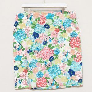 Talbots Floral & Butterfly Cotton Pencil Skirt 16
